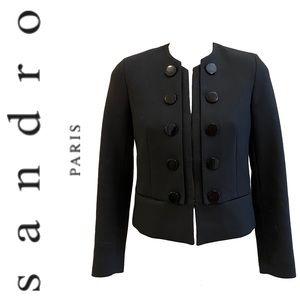 SANDRO black double breasted bouclé jacket